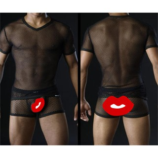 Men's big mesh short-sleeved T blood European and American sexy body shaping sex