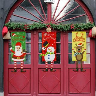 shenyangwolf Merry Christmas Ornaments Santa Claus Banner Flag Door Window Hanging Decoration 115*40Cm
