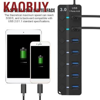 Kaobuy 7-port USB 3.0 Hub 5GB/S High Speed with Key Switch Power Adapter HUB for PC (Black)