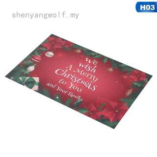 shenyangwolf 6Styles Table Decor Waterproof Oil Proof Place Mats Christmas Santa Snowman Dining Table Placemats