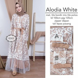 Pre order Alodia lace maxi dinner dress long sleeve nude white