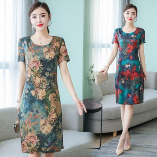 ▣Long silk dress whom mother put pencil skirt the new 2019 big-name hangzhou in summer