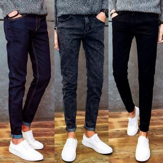 New Korean Men's Jeans Slim Fit Mid Waist Micro-Stretch Men's Pants Trousers