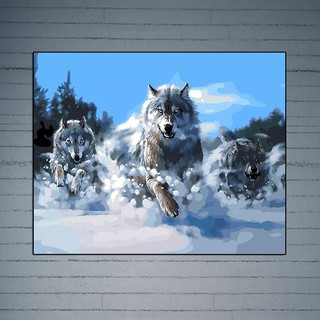 Three Running Wolves DIY Oil Painting  Numbers Drawing On Canvas Office Decor