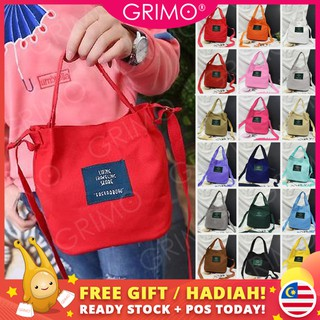 READY STOCK💞GRIMO Casual Canva Label Women's Tote Bag Sling Beg Tangan Wanita Perempuan Handbag Bags Lady Casual Gift