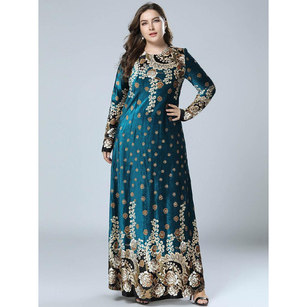Will Code Suit-dress Velvet Gilding Printing High Quality Long Sleeve Will Pendulum Dress
