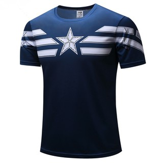 Men Dry Fit Gym Top T-shirts Superhero Captain America 3D Pattern Printed Tees
