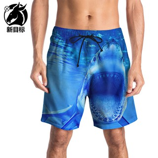 Beach pants New men's casual pants 3D printed shark swim trunks quick-drying men