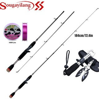Sougayilang Casting Spinning Fishing Rod 1.8M 2 Sections  M Power Surper Hard Fishing Pole for Bass Cap Fishing Pole