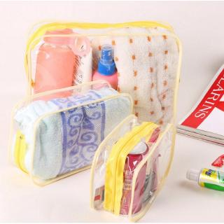 Yellow Travel PVC Cosmetic Bags Women Transparent Clear Zipper Makeup Bags Organizer
