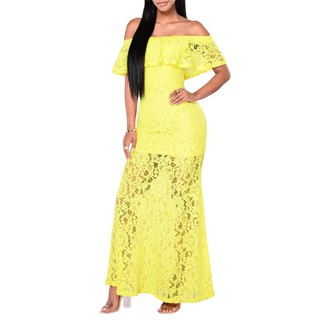 Off Shoulder Slim Bodycon Maxi Long Cocktail Party Dress Yellow/Royal Blue