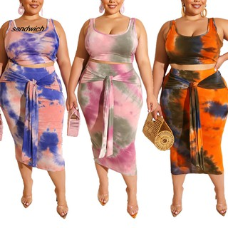SDWC Plus Size Sexy Women 2 Piece Tie Dye Print Tank Crop Top Bodycon Midi Skirt Set