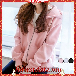 Ready Stock Korean Oversize Plain Women's Jacket Outerwear Women's Hoodie ET12M