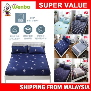 Wenbo Modern Design Premium Bed Sheet Cover Queen Size /King /Single Fitted