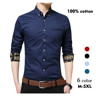 New men's long sleeve shirts slimming  version of pure cotton business casual