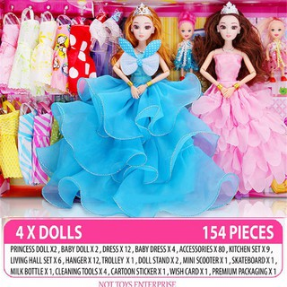 LJS A8 9D Barbie Doll Set 154 pcs Princess Gift Box Fantasy Dress Up Doll Childr