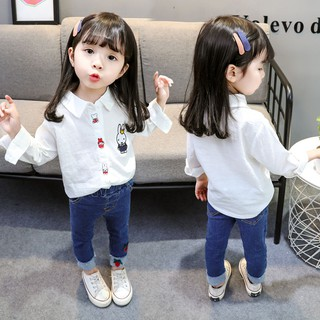 Girl's Shirt New Spring and Autumn 2009 Long Sleeve White Ocean Children's Underwear Baby's 1-3-5 years old 4
