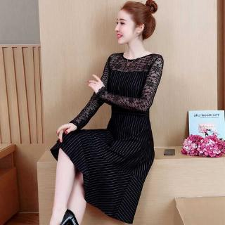 Will Code Early Suit-dress 2019 Fat Mm Grace Lace Split Joint Temperament Hollow Out Stripe Dress You