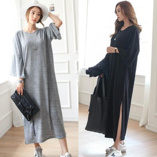 Plus Size M-XL ~ Casual Long Sleeve Ladies Maxi Dress (Black/Grey)