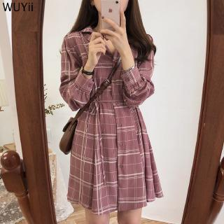 Discount Korean Style Women Long Sleeve Check Casual Loose Vintage Midi Dress size S-XL