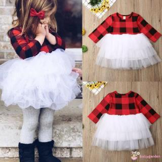 ღღBaby Girls Dress Lattice Tulle Xmas Long Sleeve Princess Christmas Plaids