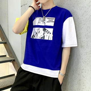 Men Short-Sleeved  T Shirt  Trend Printed Round Neck Half Sleeve