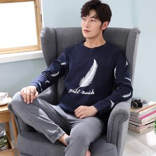 Men Casual Nightwear Set Simple Printed Pyjamas Soft Leisure Home Clothes For Male Round Neck Fashion Sleepwear