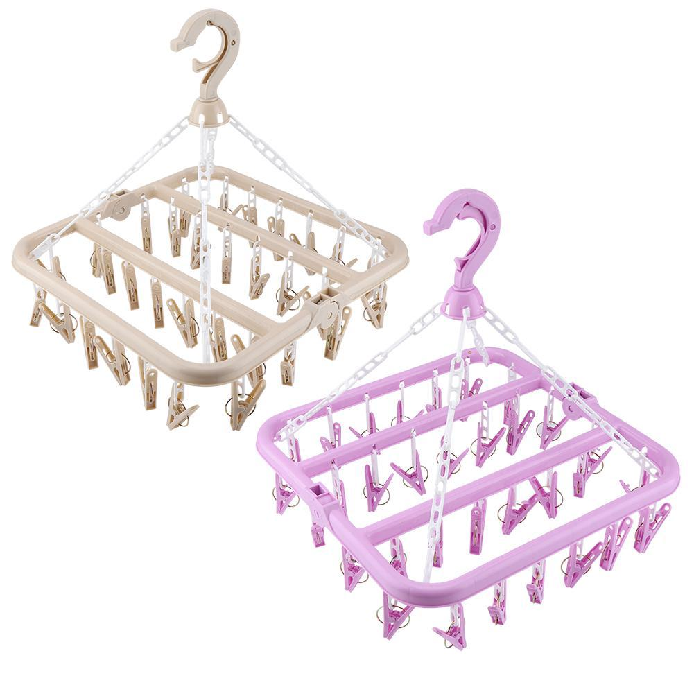 32 Clips Folding Clothes Hanger Dryer Windproof Socks Underwear Drying Rack Children
