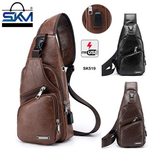SKM Sports And Leisure USB Charging Synthetic Leather Messenger Bag SK 519