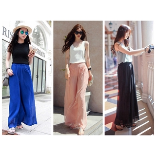 JT Women Summer Chiffon Culottes Wide Leg Pants Nine Shorts Loose Long Thin Pants