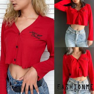 ღ𝓂ℰWomens Long Sleeve Button up lightweight Ladies  Crop Tops