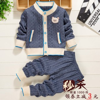 Baby clothes plus velvet set autumn and winter jacket children's wear boys girls cardigan knitted sweater kids thicken