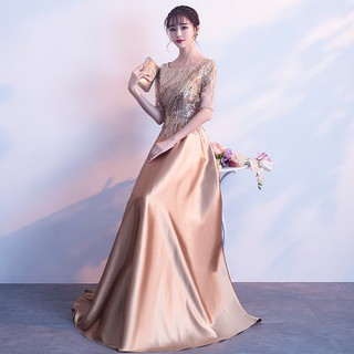 chorus prom banquet evening dress female 2019 new noble gold long paragraph