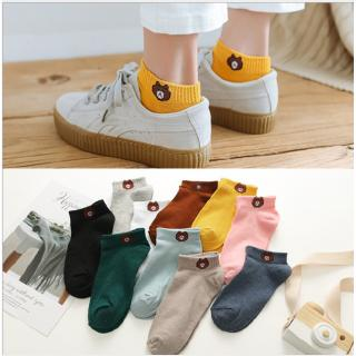READY STOCK Female Socks Thin Bear Boat Socks Cute Korean Version of INS Tideway Socks