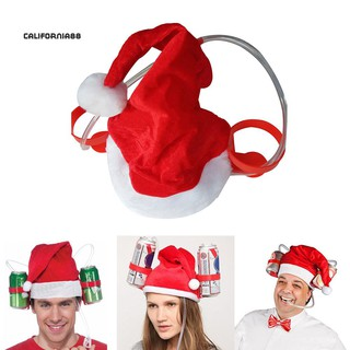CaliChristmas Santa Claus Cheers Drinking Hat Holds 2 Beverages Holiday Decoration
