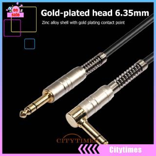 cityGold-Plated 6.35mm 90 Degree Stereo Male to Male Audio Cable for