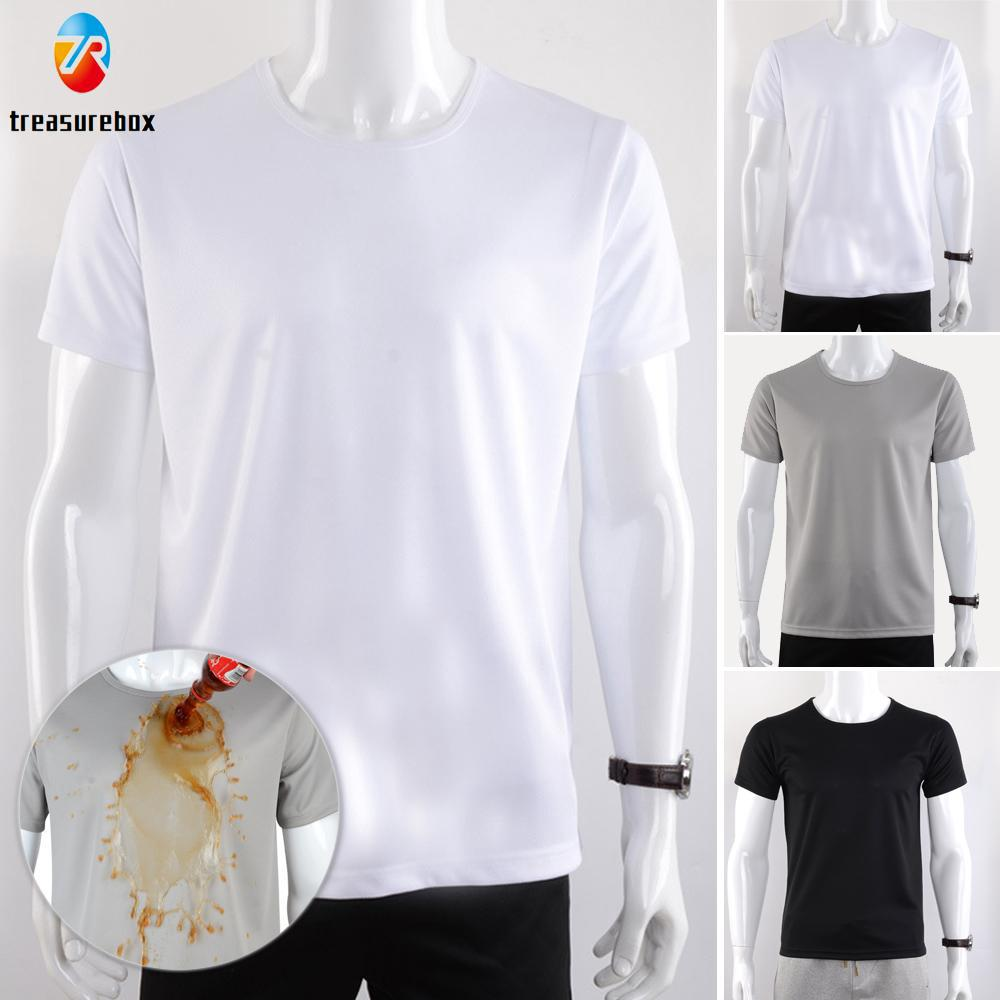 Comfy Tops Shirt Men Male Solid Short sleeves Basic tee Waterproof Round neck
