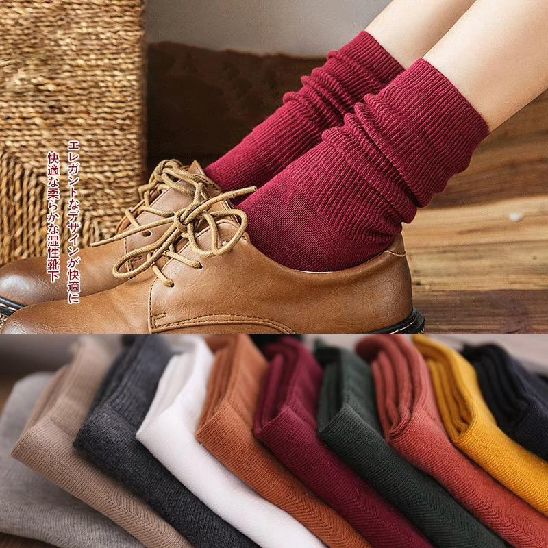 Pile of socks women cotton middle tube warm breathable Solid Korea fashion socks