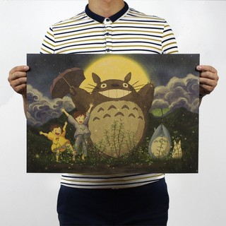 Cute Totoro Wall Poster Kraft Wall Paper Picture Lovely Wall Decals