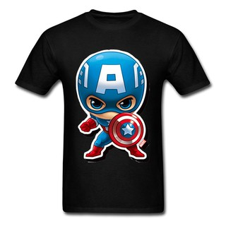 Captain America Kawaii Chibi Men Black T-Shirt New 3D Movie Anime Cute Boyfriend Tee