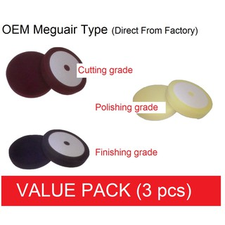 Direct OEM Meguairs factory 6half inch All grades sponge pad 3 pcs Value Pack