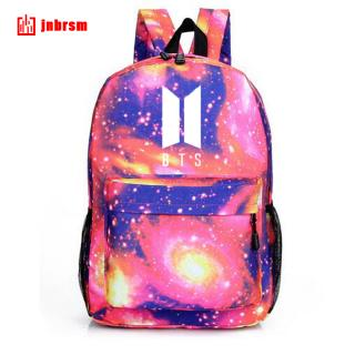 BTS Pattern Star Sky Printing Backpack Fashion Canvas Bag
