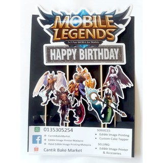 MOBILE LEGEND Cake Topper Happy Birthday Ready stock Laminated Material