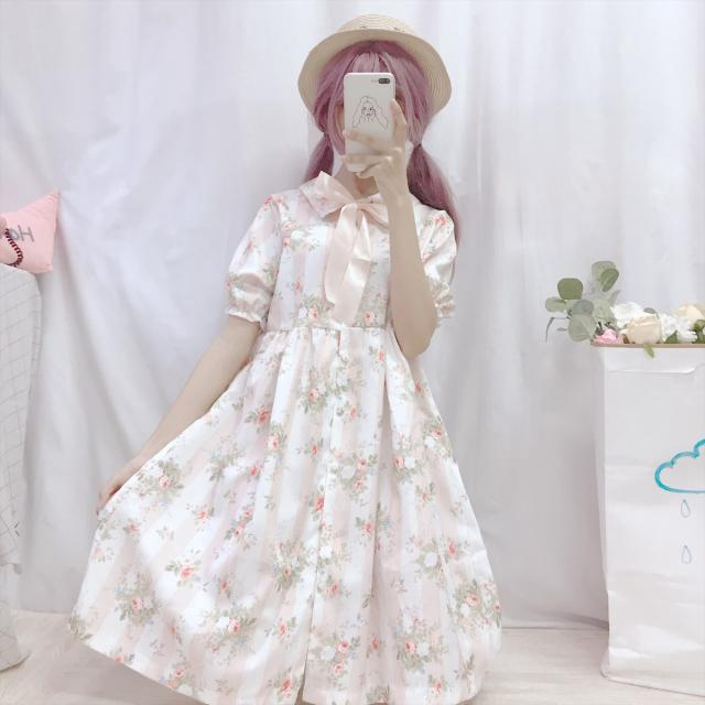 Summer women's Day soft sister original Lolita student retro print daily prin
