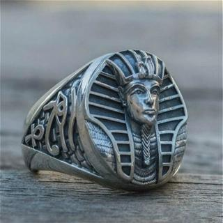 Men's Vintage 316L Stainless Steel Ring Ancient Egypt Tutankhamun Pharaoh Horus Eye Cross Ring Steampunk Party Jewelry