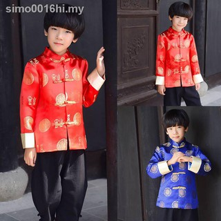 Children's outfitBaby boy hanfu autumn ethnic Chinese New Year''s day Year performance put clothes children wear tang