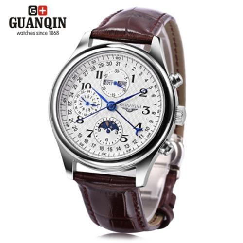 GUANQIN GQ20022 MALE AUTO MECHANICAL WATCH MOON PHASE CALENDAR 24 HOURS(BROWN)