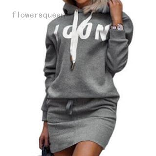 Grey Color Women ICON Letter Printed Hoodies And Dress Set Casual Hoodie Set