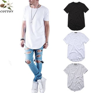 ZSIIBO Cotton streetwear Hip Hop t-shirts extended long line justin bieber Tops TX145 N