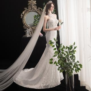 Mermaid Wedding Dress Elegant Halter Court Train Lace Up Bride Dress Princess Luxury Lace Wedding Dresses